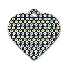 Eye Dots Grey Pastel Dog Tag Heart (one Side)