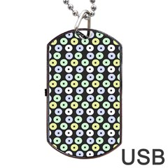 Eye Dots Grey Pastel Dog Tag Usb Flash (one Side)