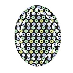 Eye Dots Grey Pastel Ornament (oval Filigree)