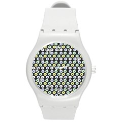 Eye Dots Grey Pastel Round Plastic Sport Watch (m)