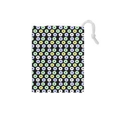 Eye Dots Grey Pastel Drawstring Pouches (small)