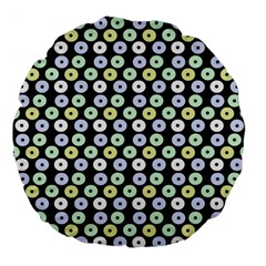 Eye Dots Grey Pastel Large 18  Premium Flano Round Cushions