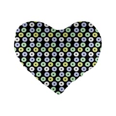 Eye Dots Grey Pastel Standard 16  Premium Flano Heart Shape Cushions