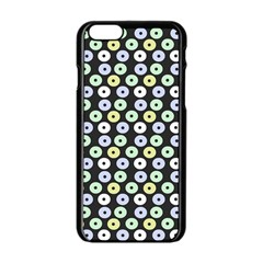 Eye Dots Grey Pastel Apple Iphone 6/6s Black Enamel Case