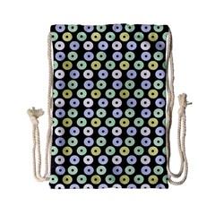 Eye Dots Grey Pastel Drawstring Bag (small) by snowwhitegirl