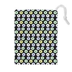 Eye Dots Grey Pastel Drawstring Pouches (extra Large)