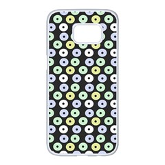 Eye Dots Grey Pastel Samsung Galaxy S7 Edge White Seamless Case