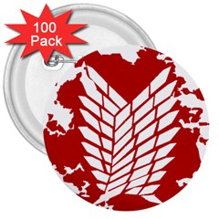 Attack On Titan 3  Buttons (100 Pack)