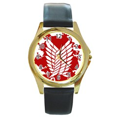Attack On Titan Round Gold Metal Watch