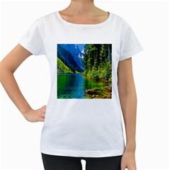 Beautiful Nature Lake Women s Loose Fit T Shirt (white)