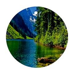Beautiful Nature Lake Round Ornament (two Sides)