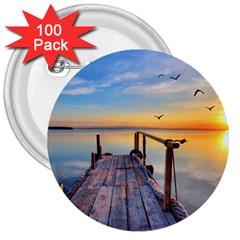 Sunset Lake Beautiful Nature 3  Buttons (100 Pack)  by Modern2018