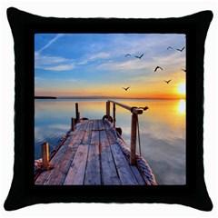 Sunset Lake Beautiful Nature Throw Pillow Case (black)