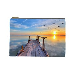 Sunset Lake Beautiful Nature Cosmetic Bag (large)