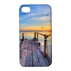 Sunset Lake Beautiful Nature Apple Iphone 4/4s Hardshell Case With Stand by Modern2018
