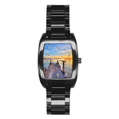Sunset Lake Beautiful Nature Stainless Steel Barrel Watch