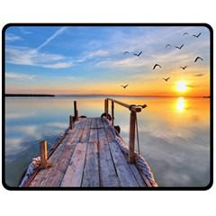 Sunset Lake Beautiful Nature Double Sided Fleece Blanket (medium)