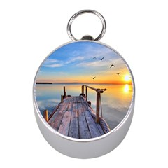 Sunset Lake Beautiful Nature Mini Silver Compasses
