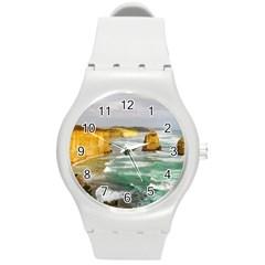 Coastal Landscape Round Plastic Sport Watch (m)