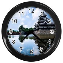 Beautiful Pagoda On Lake Nature Wallpaper Wall Clocks (black)