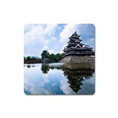 Beautiful Pagoda On Lake Nature Wallpaper Square Magnet