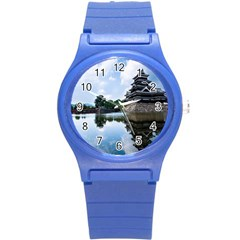 Beautiful Pagoda On Lake Nature Wallpaper Round Plastic Sport Watch (s)