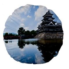 Beautiful Pagoda On Lake Nature Wallpaper Large 18  Premium Round Cushions by Modern2018
