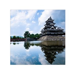 Beautiful Pagoda On Lake Nature Wallpaper Small Satin Scarf (square)