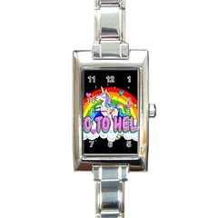 Go To Hell   Unicorn Rectangle Italian Charm Watch by Valentinaart