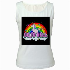 Go To Hell   Unicorn Women s White Tank Top
