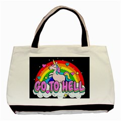 Go To Hell   Unicorn Basic Tote Bag (two Sides)