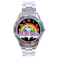 Go To Hell   Unicorn Stainless Steel Analogue Watch by Valentinaart