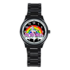 Go To Hell   Unicorn Stainless Steel Round Watch by Valentinaart
