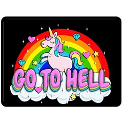 Go To Hell   Unicorn Double Sided Fleece Blanket (large)