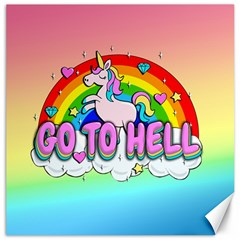 Go To Hell   Unicorn Canvas 20  X 20