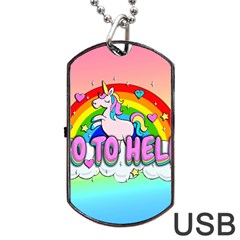 Go To Hell   Unicorn Dog Tag Usb Flash (one Side) by Valentinaart