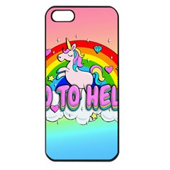 Go To Hell   Unicorn Apple Iphone 5 Seamless Case (black) by Valentinaart