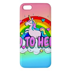 Go To Hell   Unicorn Apple Iphone 5 Premium Hardshell Case by Valentinaart