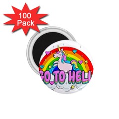 Go To Hell   Unicorn 1 75  Magnets (100 Pack)
