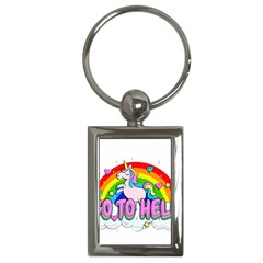 Go To Hell   Unicorn Key Chains (rectangle)  by Valentinaart