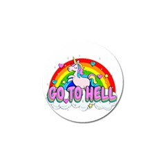 Go To Hell   Unicorn Golf Ball Marker by Valentinaart