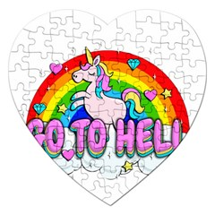 Go To Hell   Unicorn Jigsaw Puzzle (heart)