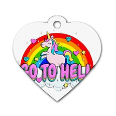 Go To Hell   Unicorn Dog Tag Heart (one Side) by Valentinaart