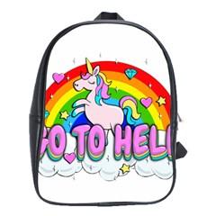 Go To Hell   Unicorn School Bag (large)