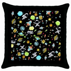 Space Pattern Throw Pillow Case (black) by Valentinaart