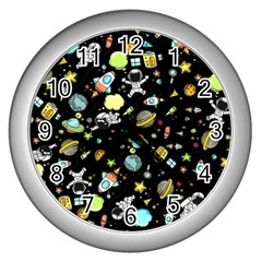Space Pattern Wall Clocks (silver)  by Valentinaart