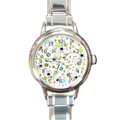 Space Pattern Round Italian Charm Watch