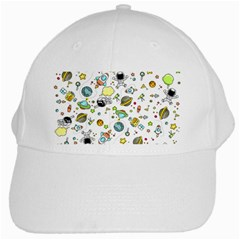 Space Pattern White Cap