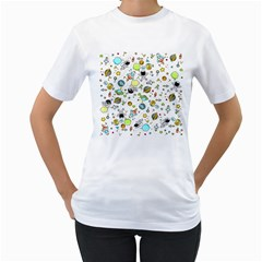 Space Pattern Women s T Shirt (white) (two Sided)