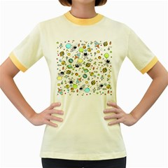 Space Pattern Women s Fitted Ringer T Shirts